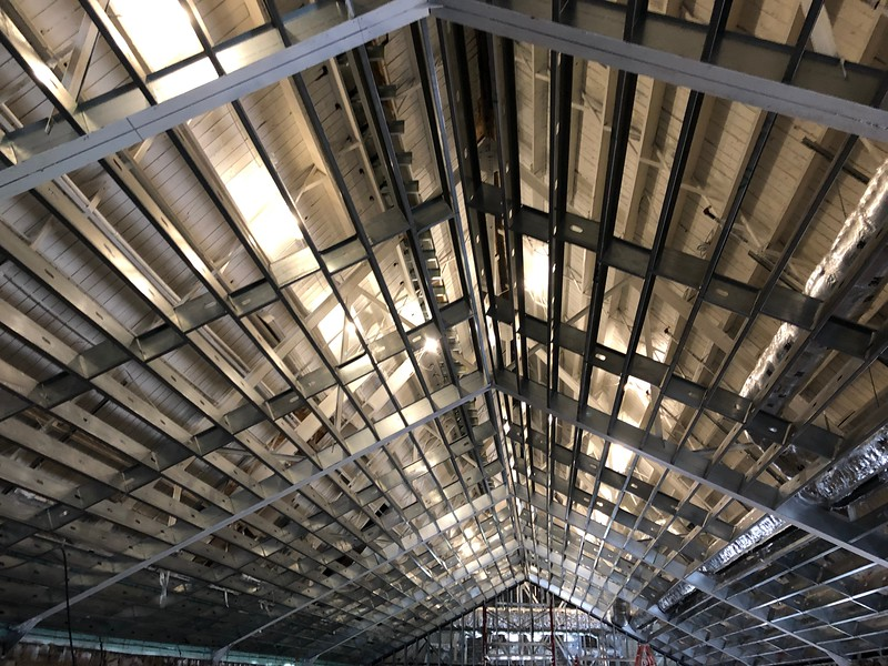The partially constructed ceiling of Hale Library's Great Room, which is on the third floor in the oldest section of the building. The Great Room sustained some of the worst water and smoke damage from the May 22, 2018 fire. Photo taken on May 17, 2019. (Dene Dryden | Collegian Media Group)