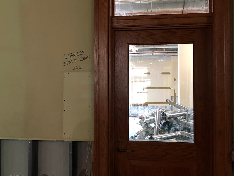 Room 222 of Hale Library is deemed for library staff only, according to the writing on the wall ,on May 17, 2019. (Dene Dryden | Collegian Media Group)