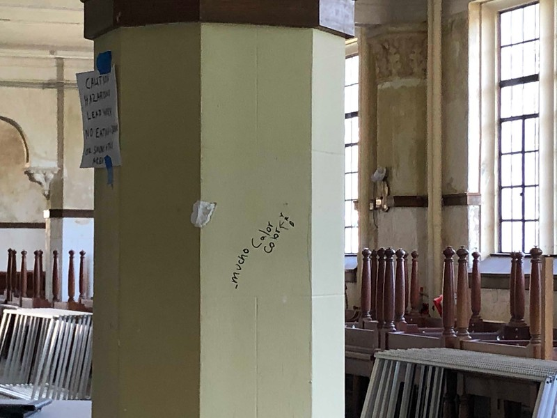 Writing on a column in Hale 212 on on May 17, 2019. (Dene Dryden | Collegian Media Group)
