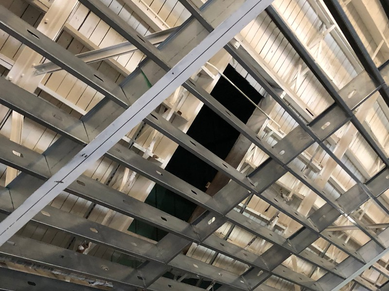 An open space in the Great Room's ceiling in Hale Library on May 17, 2019. (Dene Dryden | Collegian Media Group)