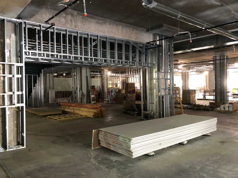New walls are under construction on the first floor of Hale Library. This area will turn into a cafe. Photo taken on May 17, 2019. (Dene Dryden | Collegian Media Group)