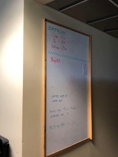 On the fifth floor of Hale Library, a whiteboard in an administrative offices room remains un-erased from the day of the fire: May 22, 2018. Photo taken on on May 17, 2019. (Dene Dryden | Collegian Media Group)