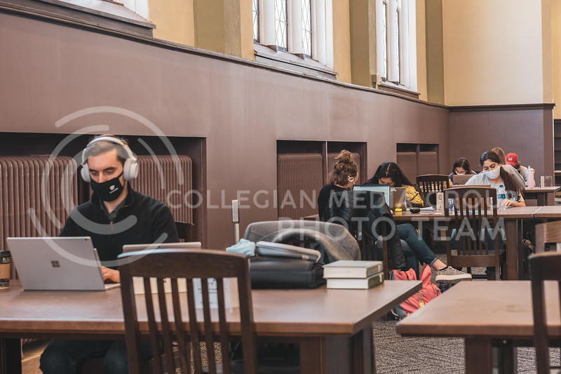 Students study in the restored Great Room in Hale library. Wednesday, February 17, 2021. (Dylan Connell   Collegian Media Group)