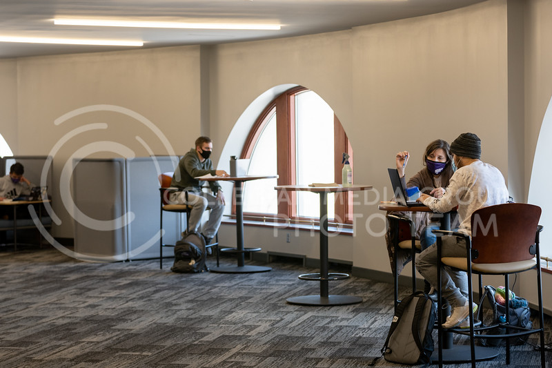 Students study in Hale library after the reopening of floors one through four.  February 17, 2021. (Dylan Connell | Collegian Media Group)