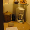 The coffee maker and ice bucket.  The refrigerator was below.