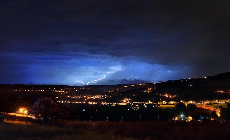 Lightning strike over Wainstalls, Halifax. Taken from Boulderclough, Sowerby.