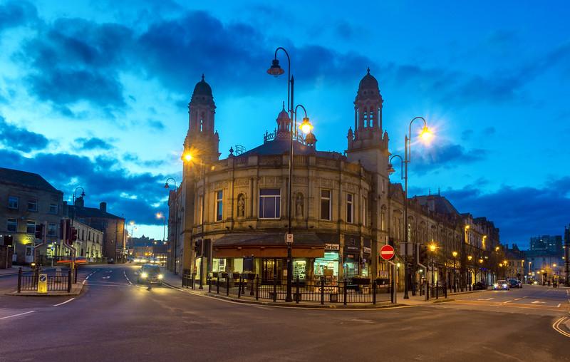 Victoria Theatre at twilight.