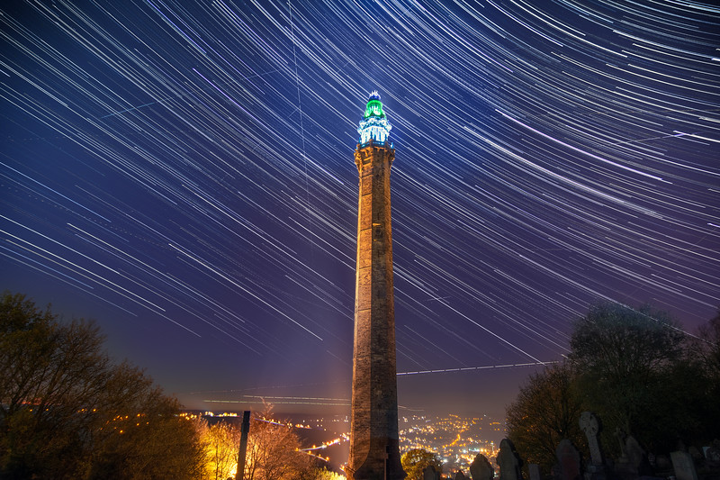 Star Trails over Wainhouse Tower, Halifax.