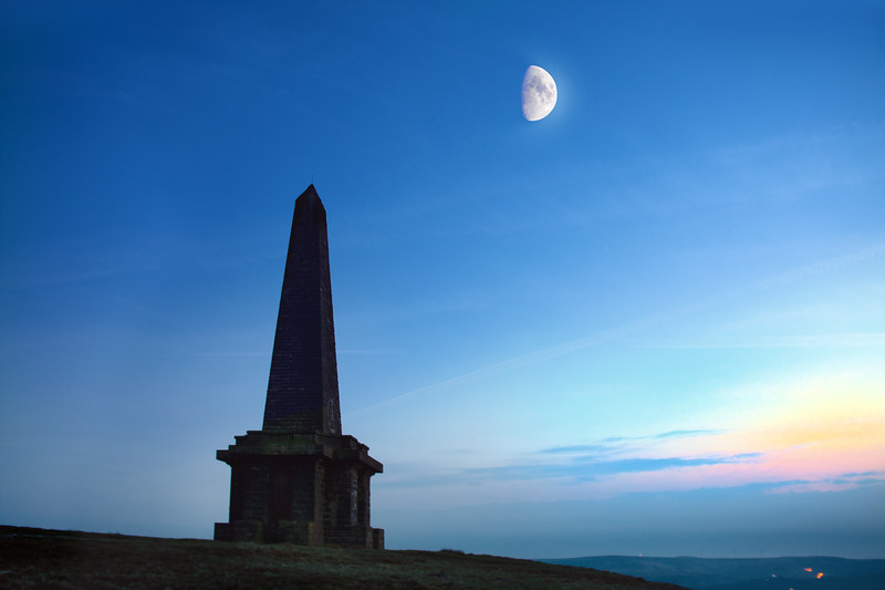 Stoodley Pike, Todmorden, with moon.
