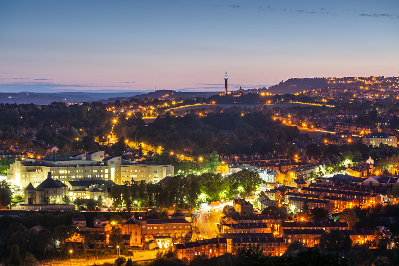 Calderdale Hospital at twilight.