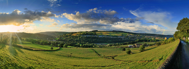 Panoramic view looking West towards Friendly from Sowerby.