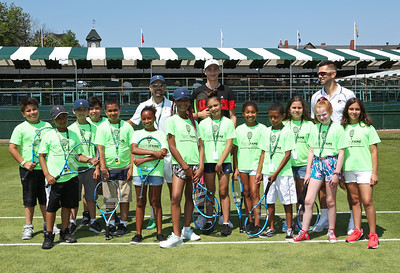 Sunday, July 14, 2019 - Alastair Gray hits with kids in a TeamFAME Clinic during the Hall of Fame Open at the International Tennis Hall of Fame in Newport, RI.