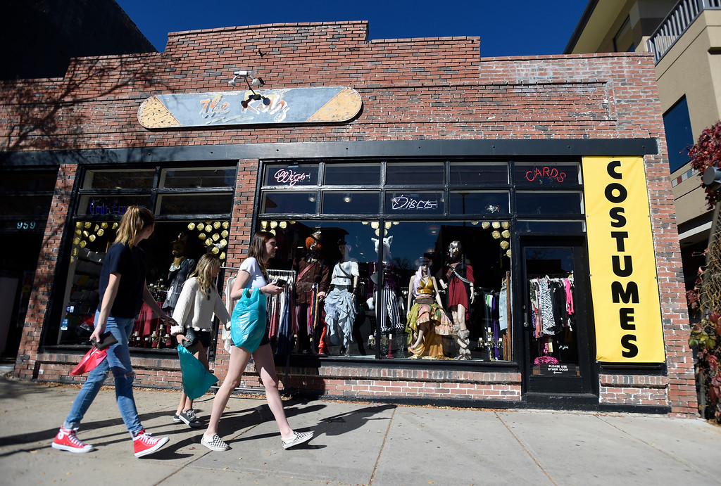 . Women, not identified, walk out of The Ritz Costumes store after shopping for a Halloween costume on Wednesday in Boulder. For more photos of people shopping for costumes at The Ritz go to dailycamera.com Jeremy Papasso/ Staff Photographer 10/25/2017