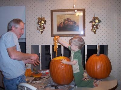 2005 Pumpkin Carving and Foam on Brendan 2005