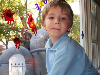 2008 Brendan putting Halloween Decor Up