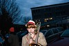 BUHS Trombone player warming up before the Horribles Parade.  KELLY FLETCHER, REFORMER CORRESPONDENT