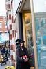Lorraine Gordon awaits Trick-or-Treaters in full festivity outside Salon Jacque;  KELLY FLETCHER, REFORMER CORRESPONDENT