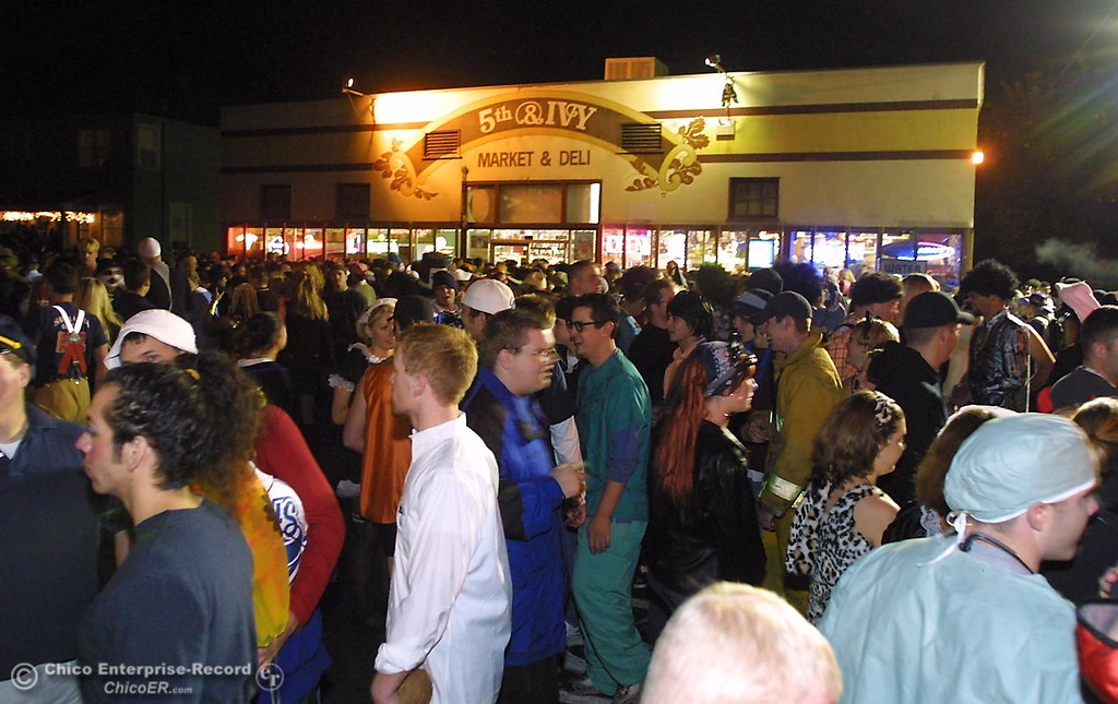 thousands of halloween partiers flocked to the corner 5th and ivy during halloween night