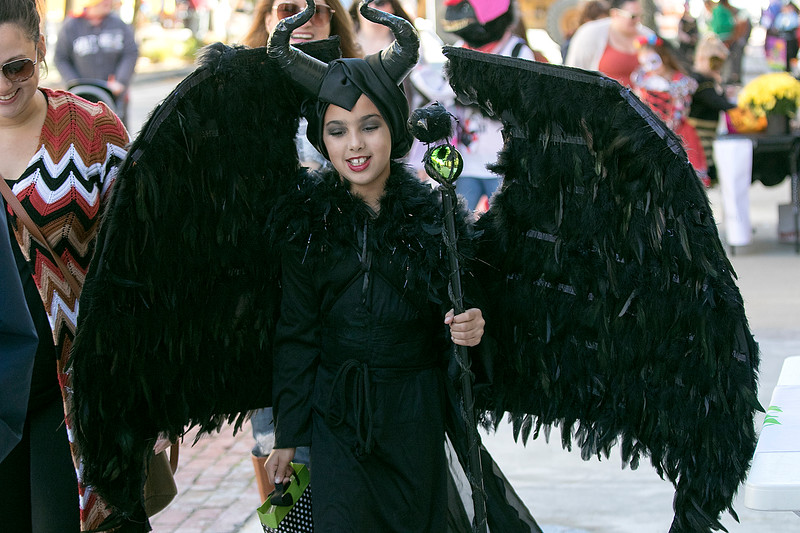 Main Street in Fitchburg was closed down on Saturday for the annual Halloween on Main Street event. Olivia Brito, 9, of Fitchburg was dressed as Malefcent for the event. SENTINEL & ENTERPRISE/JOHN LOVE