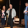 From left, Miss Strasburg Olivia Telgmann, Junior Miss Strasburg Rachel Kessler, emcee Ron Price and local resident Paul Montgomery get ready for the costume contest at the Strasburg Halloween celebration Oct. 26.