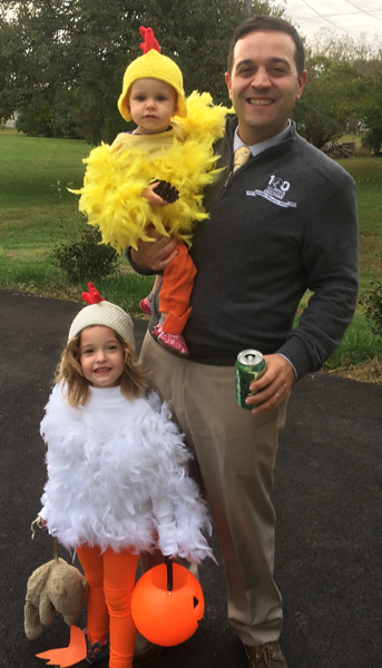 Local GAD Gideon Blustein takes two chickens to a Halloween event, daughters  Amelia (left) and Eleanor.