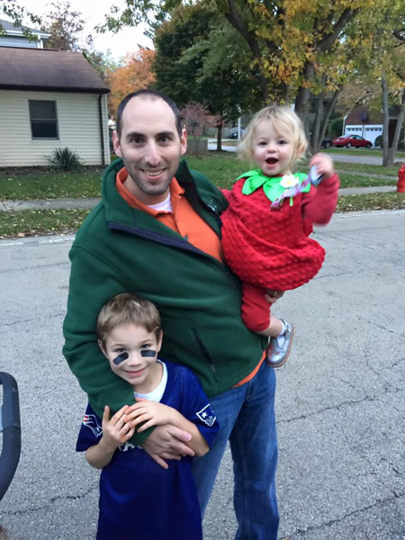 Local GAD Howard Handler goes trick or treating with a football player (Harrison) and  a strawberry (Eloise).