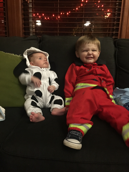 Vicky Turner's grandchildren dressed as a dalmation (Samuel) and a fireman (Maxwell).