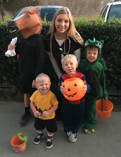Gail Pyzka's grandchildren posed as a horse (Ashton), doctor (Sophie), fire-breathing dragon (Pierce), Spider-Man (Bentley) and Charlie Brown (Ari).