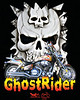 Ghost Rider Custom Shirt Design<br /> of David's bike using the skulls painted on his tank as back ground.<br /> Art by HippyChicKim