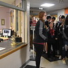 "GREG SUKIENNIK  --  MANCHESTER JOURNAL<br /> Fisher Elementary School principal Deanne Lacoste, left,. announces that a ""Hallway Hooray"" is about to take place for the Arlington Memorial High School soccer teams, while Priscilla Klauder cues up ""We Are The Champions"" by Queen."