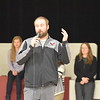 GREG SUKIENNIK  -- MANCHESTER JOURNAL<br /> Arlington Memorial High School girls soccer coach Aaron Wood addresses the student body at an assembly at the high school Monday morning honoring the girls and boys teams for winning the state championship.