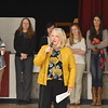 GREG SUKIENNIK  -- MANCHESTER JOURNAL<br /> Arlington Memorial High School Sarah Merrill addresses the student body as the school honors the girls and boys' soccer teams for winning state championships on Monday morning.