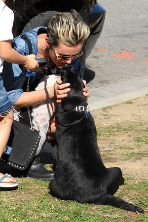 Laeticia with Hallyday family puppy in Santa Monica,California.