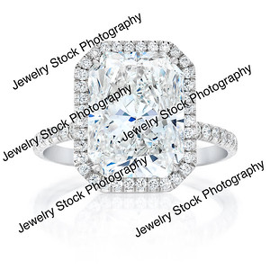 6ct Radiant With a Halo Ring Front