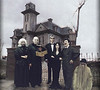 The Addams Familly: Grandmama, Fester, Thing, Lurch, Morticia (Mary), Gomez (Eddie), and Cousin Itt (Don)