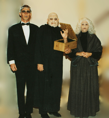 Lurch (Jack), Fester and Thing (Dave), and Grandmama (Linda)