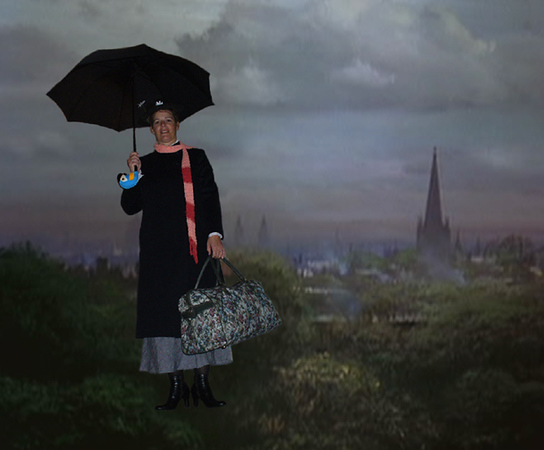 Mary Poppins (Judi), practically perfect in every way, floating over London.