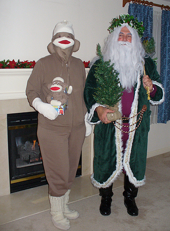 Sock Monkey (Judi) with Father Christmas (Dave)