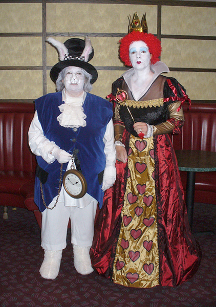 White Rabbit (Janis) and The Queen of Hearts (Judi)