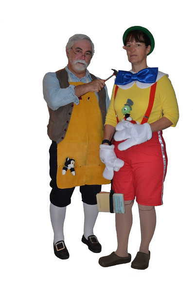 Geppetto (Dave) and Pinocchio (Judi)