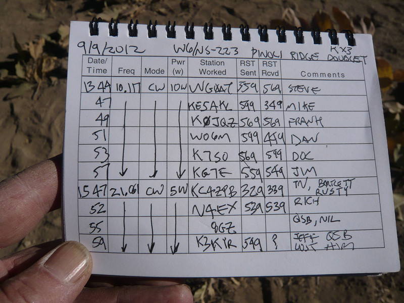W6/NS-223 (Pinoli Ridge) logbook page 2. These are my QSOs the following morning.