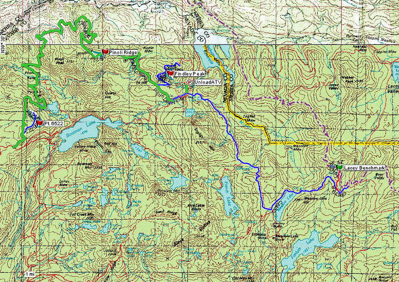 Topo map showing the four summits that I activated, along with some of the dirt roads and motorized trails in the area color-coded for difficulty. Green is easy, blue is less easy (high clearance vehicle required) and red is even less easy (rugged 4x4 vehicle required). The paved road from Highway 89 to Jackson Meadows reservoir ends at my UnloadATV waypoint. The purple dashed line is the Pacific Crest Trail which happens to pass by Lacey Benchmark. You can get to the west end of the green road (Forest Service 41) via Bowman Lake Road from I-80/Hwy 20, but you'll need a high clearance vehicle for the last part of Bowman Lake Road. I activated the summits in the following order:<br /> <br /> Lacey Benchmark (W6/NS-156)<br /> Pt. 6522 (W6/NS-273)<br /> Pinoli Ridge (W6/NS-223, camped there overnight)<br /> Findley Peak (W6/NS-213)