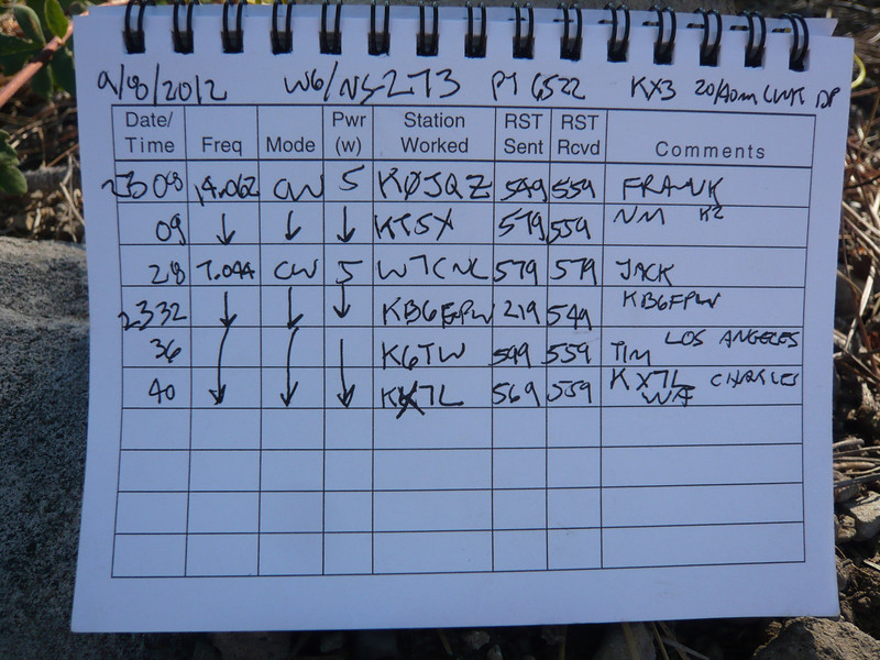 W6/NS-273 (Pt. 6522) logbook page 2.