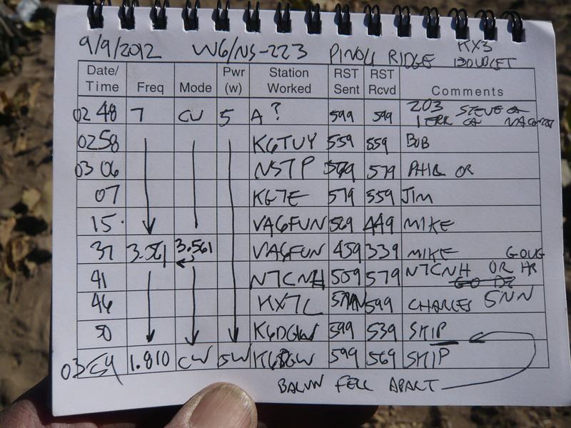 W6/NS-223 (Pinoli Ridge) logbook page 1. I worked only the low bands that evening (Sorry Rich, I didn't get your E-mail requesting 20m until after I got home). The 80m QSOs and the one with Skip K6DGW on 160m were SOTA firsts for me on those bands. One of the wires inside the balun seems to have broken loose and by the time I worked Skip on 160m the balun was in very-very bad shape. I could only manage an SWR of something like 6 or 7 to 1 after much jiggling. When I tested the antenna at home before the trip, the KX3 ATU had tuned the balun/antenna to about 1.2:1 on 160m. I went QRT, ate dinner and hit the sack after working Skip.