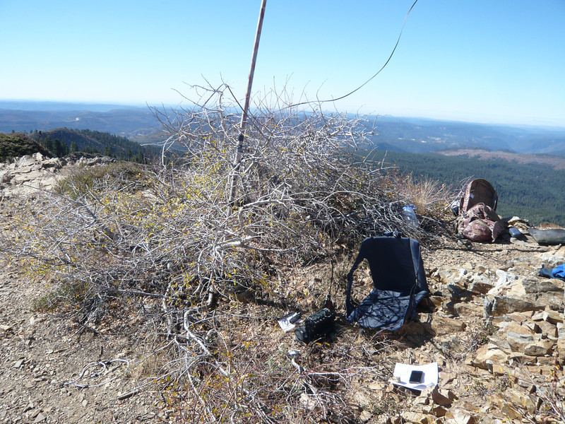 My operating position next to the bush and base of my mast. I was hoping to get a bit of shade from the bush but there wasn't much. By the way, a KX3 plus an 88' doublet is about as good as it gets for portable operations: one quick press of the KX3's ATU button gets you on any band from 6m-80m in seconds, and the antenna is an extended double Zepp on 20m with about 3 dB of gain over a half-wave dipole. Extend the doublet out to 135' and 160m is just as easy.