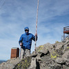 It was windy and not particularly warm, but at least the sun had baked almost all of the snow from the summit itself. I took this right after getting my 88' doublet raised and secured. There wasn't enough room around the lookout tower to use it as a center support so I went with my 28' Jackite pole.