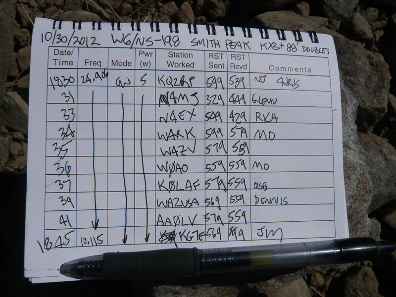 Logbook page 1. I made a total of 20 contacts from the summit, and my first ever 2m SOTA chaser contact with Todd after I rode my ATV all the way back down to Highway 70.