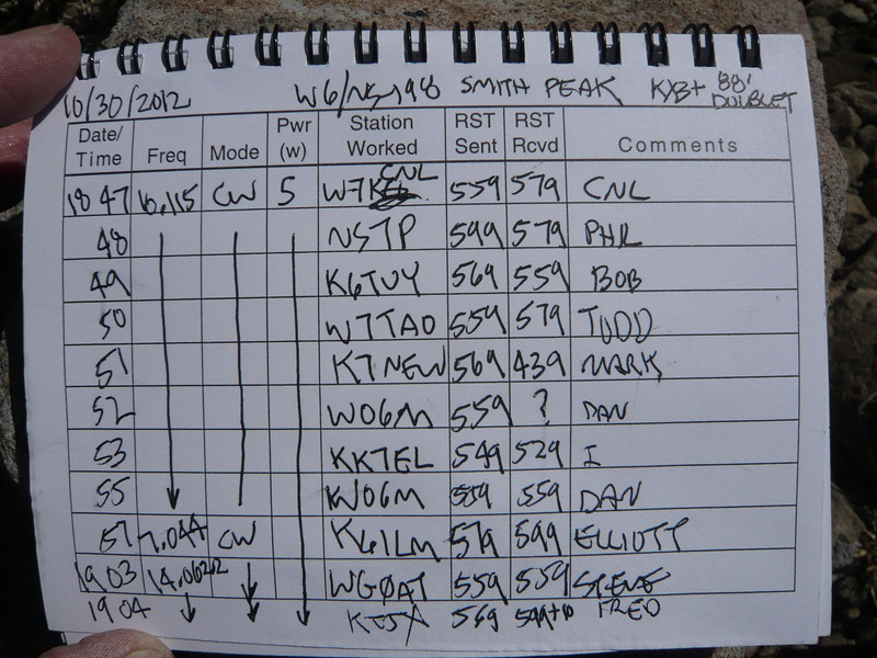 Logbook page 2. Thanks to everyone who stopped by and gave me a call!