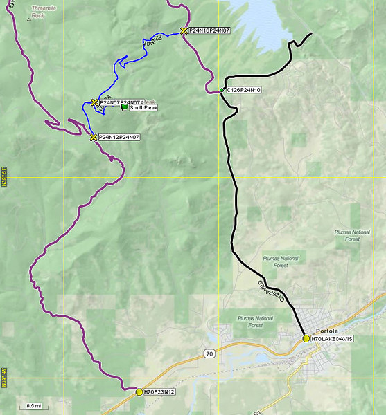 There are two routes from Highway 70 to Smith Peak and either one can be driven with a 2WD vehicle IF there is no snow on the roads. On this day there was snow, so I rode my ATV up the western route (Plumas NF road 23N12 which is dirt but well maintained) since it approached the summit from the south. South facing slopes will almost always have less snow than north facing slopes, and this proved to be the case today. It was approximately 9 miles from Highway 70 to the top. The eastern route is probably quicker in the summer since much of it is along the paved Lake Davis Road from Portola.