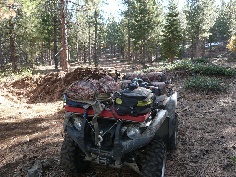 "For maps and directions to Prosser Hill, see <a href=""http://www.grizzlyguy.com/HamRadio/SOTA-ProsserHil-W6NS236-2013"">this album from a later activation</a>. The forest service used to allow ATVs and dirt bikes to go all the way to the top of the hill. Those routes have now been closed to motorized vehicles, so I parked my 'SOTA steed' at the closure berm and did my hike to the top from here. It turned out to be an easy-peasy 1 mile hike with an elevation gain of only about 400 feet."